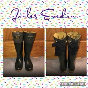 Joules Evedon Tall Rain Boots w/Black Bows